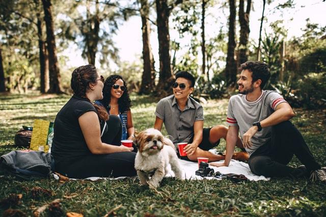 公園で会話をする人々